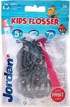 Kup Zestaw Nici dentystyczne dla dzieci, szaro-różowy - Jordan Kids Flosser (floss/1pc + refils/36pcs)