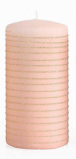 Świeca dekoracyjna, różowo-złoty walec, 7 x 14 cm - Artman Andalo — фото N1