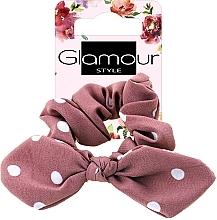 Kup Gumka-scrunchie do włosów, 417611, różowa w kropki z kokardą - Glamour