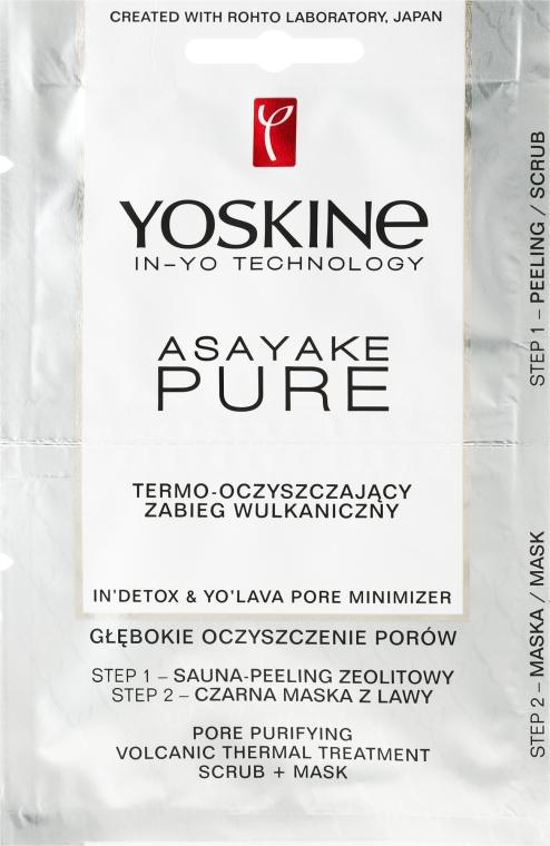 Termo-oczyszczający zabieg wulkaniczny - Yoskine Asayake Pure Pore Purifying Volcanic Thermal Treatment Scrub + Mask
