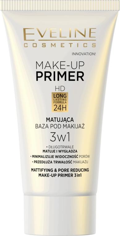 Matująca baza pod makijaż 3 w 1 - Eveline Cosmetics Make-Up Primer Hd Long Lasting Formula 24h