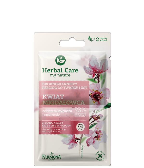 Drobnoziarnisty peeling do twarzy i ust Kwiat migdałowca - Farmona Herbal Care Almond Flower Face & Lips Exfoliator